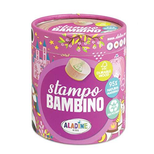 Aladine - Tampons Enfants Stampo Bambino - Coffret 8 Tampons Support Bois Durable Label FSC + Encreur Noir - Loisirs Créatifs dès 3 ans - Thème Princesse