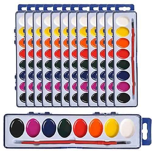 The Dreidel Company Watercolor Paint Set for Kids and Toddlers, 8 Color Tray with Plastic Paint Brush Included, Classroom, Birthday Party, Events and Gatherings (12-Pack)