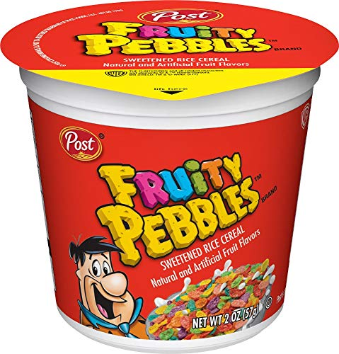 Post Fruity PEBBLES Breakfast Cereal, Portable Individual Cereal Cups To Go, Gluten Free Cereal, 2.0-Ounce (Pack of 12) (PP-GRCE33476)