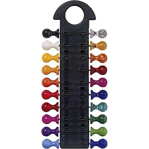 Laurel - Puntine per bacheca, con porta puntine, 20 pins  8 x 14 mm, colori base/fluo assortiti