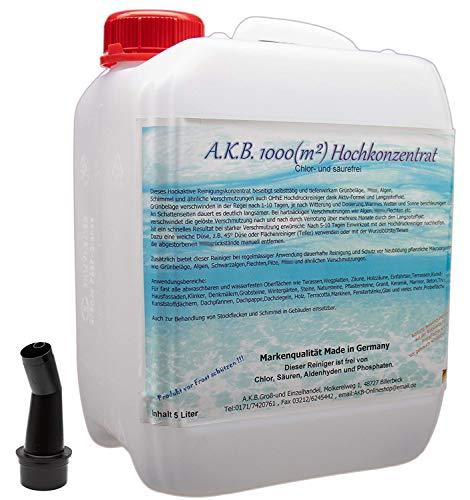 A.K.B. A.K.B.1000(m²) Hochkonzentrat/0319 5 Liter Algenentferner Grünbelagentferner Grabsteinpflege Steinreiniger