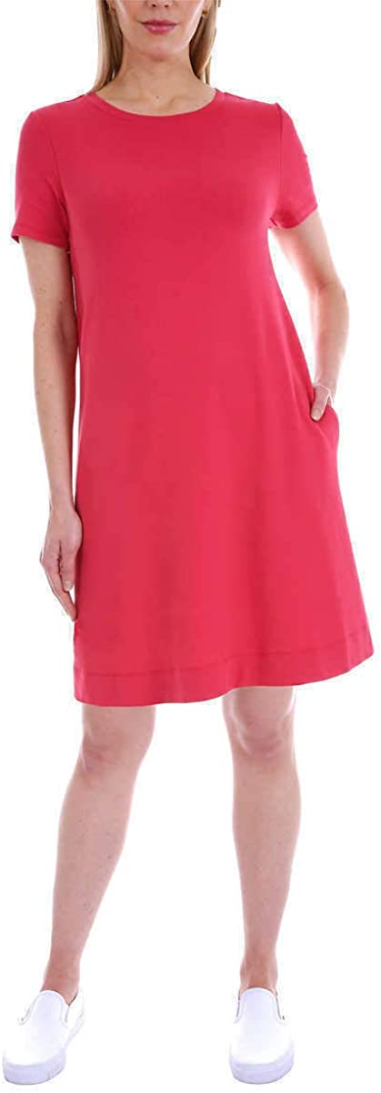 ELLEN TRACY Women's Pima Cotton A-Line Dress with Side Seam Pockets (Red Robin, Small)