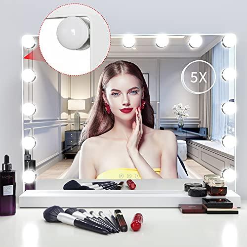 Meidom Hollywood Spiegel Kosmetikspiegel mit Aluminiumrahmen und Beleuchtung 3 Farbtemperatur 15 einstellbares LED-Licht mit USB-Tischplatte oder Wandhalterung, 58 cm x 46 cm weiß