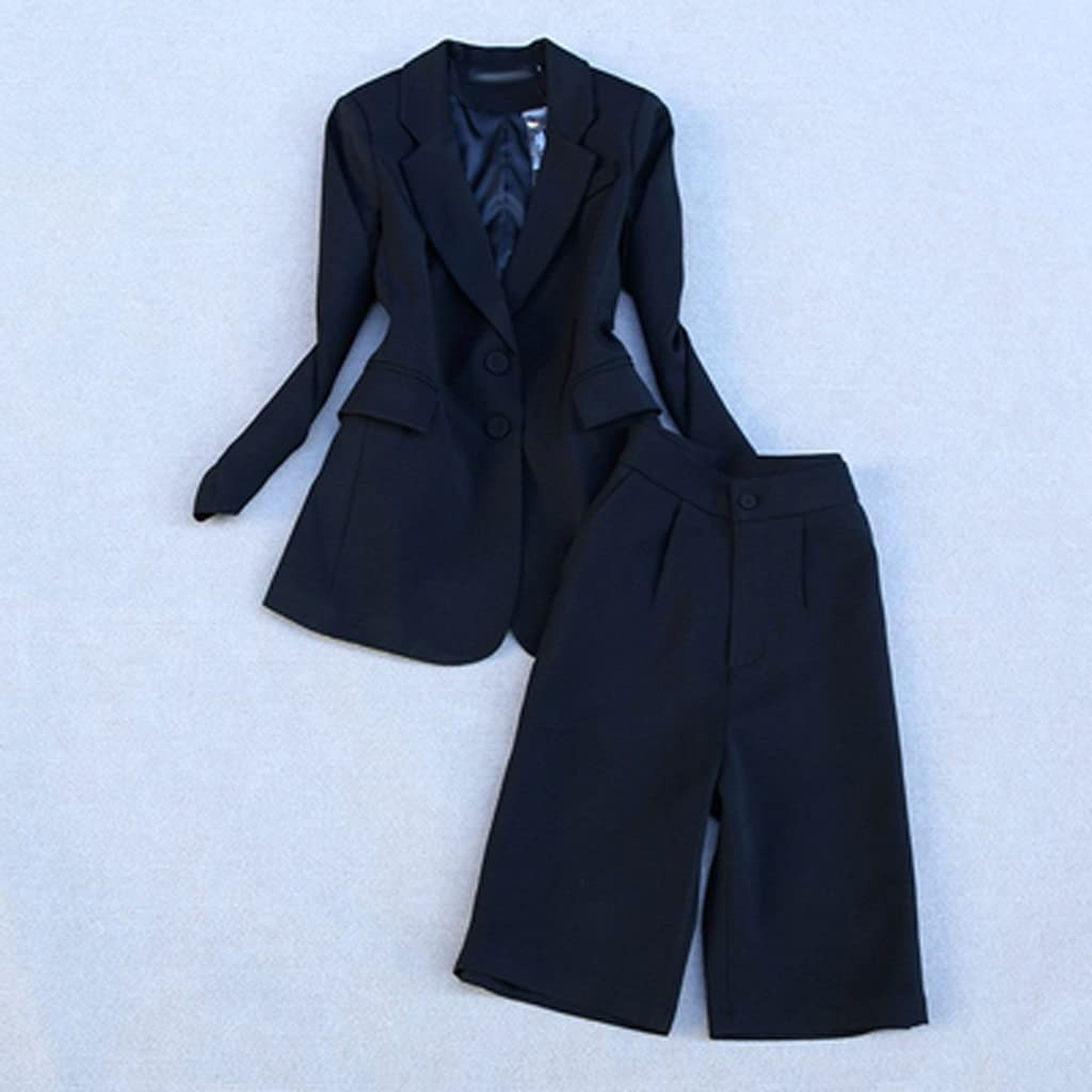 NJBYX Fashion Pants Suit Female Spring Fall Single-breasted Coat + Five Points Pants Two-piece Set Women (Color : B, Size : S code)