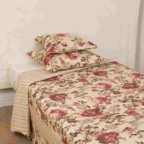 Q128.061 Clayre und Eef, Tagesdecke, Quilt, Gr&ton beigebraun, mit floralem Muster, Baumwollgemisch
