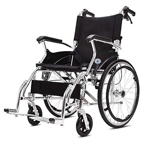 WLIXZ Aluminiumlegierungs-Rollstuhl, tragbarer Multifunktionswagen, mit Aufbewahrungstasche, 20-Zoll-Hinterrad