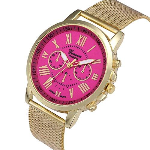 Relojes Pulsera Mujer, Xinan Moda Clásica de Oro Cuarzo Ginebra Reloj de Pulsera de Acero Inoxidable (Rosa Caliente)