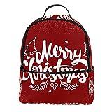 AITAI Mochila de piel sintética con texto en inglés 'Merry Christmas' para la escuela al aire libre y universidad