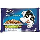 Felix Le Guottonerie Gato con salmón y calabacín y Trucha y judías, 4 x 100 g – Paquete de 10 Unidades