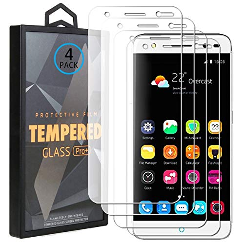 Ycloud 4 Pack Vidrio Templado Protector para ZTE Blade V7 Lite, [9H Dureza, Anti-Scratch] Transparente Screen Protector Cristal Templado para ZTE Blade V7 Lite