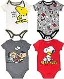 Peanuts Snoopy Baby Boys 4 Pack Bodysuits Charlie Brown Woodstock Joe Cool 0-3 Months