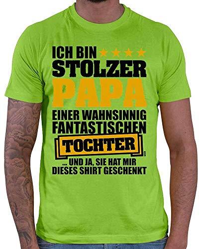 HARIZ Herren T-Shirt Ich Bin Stolzer Papa Einer Wahnsinnig Fantastischen Tochter Papa Geburtstag Plus Geschenkkarten Hell Grün L