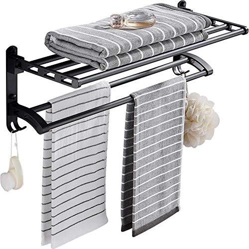 Warm Home Estantes de baño para baño con sacador, toallero, plegable, para colgar en la pared, resistente