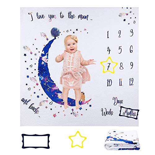 ANSUG Manta Mensual Bebe Suave Franela Manta Mensual De Hito Personalizados Fondo de Fotografía con Marco para Recién Nacidos Registros de Crecimiento Mensual - Regalo Baby Shower
