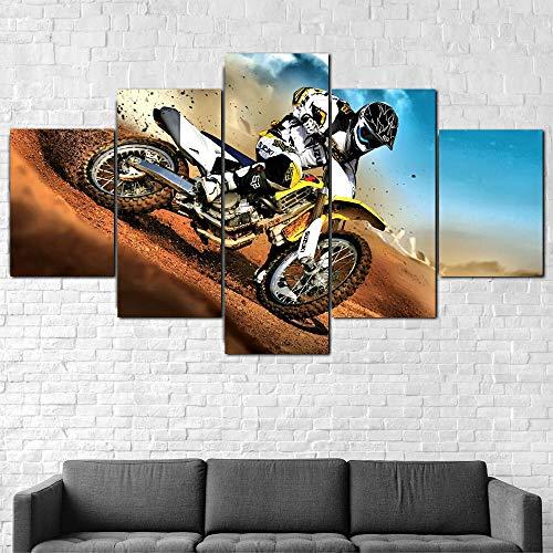 Cuadro En Lienzo 200X100Cm Motocicleta De Carreras De Bici De La Suciedad Impresión De 5 Piezas Material Tejido No Tejido Impresión Artística Imagen Gráfica Decor Pared