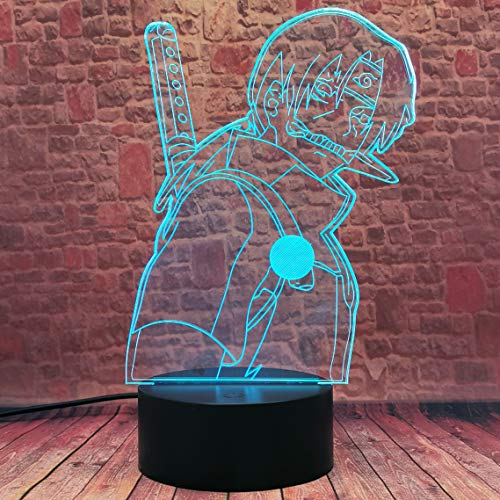 Anime - Lampada da tavolo a LED modello Uchiha Itachi per regalo di Natale per appassionati, 16 colori, luce notturna a LED 3D Illusion per camera dei bambini