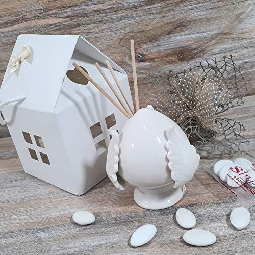 Sindy Bomboniere Pumo in Ceramica Bianco profumatore con Scatola casetta con Kit di confezionamento