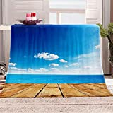 DKIPN Manta de Lana de Franela súper Suave para cojín/sofá/Silla/Cama Manta de Microfibra súper Suave y esponjosa Cielo Azul y Nubes blancas-150x200 cm/60x79 Inch