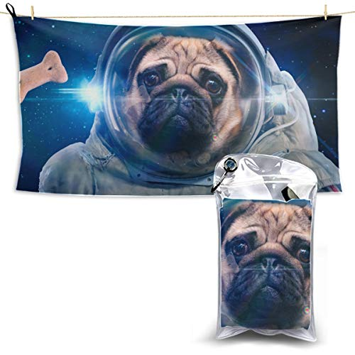 WJJSXKA Space Dog Space Suit Sports Towel for Men Dry Quick Swim Towels Womens Beach Towel Towel Camping 27.5'' X 51''(70 X 130cm) Best for Gym Travel Camp Yoga Fitnes