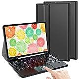 TASTATUR Kompatibel iPad Air 4/iPad Pro 11 Beleuchtete Tastatur mit Trackpad, (Deutsches QWERTZ) Tastatur Hülle für iPad Air 4 & iPad Pro 11 Zoll 2020/2021, Schwarz