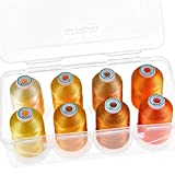 New brothread - 15 Options - 8 Snap Spools of 1000m Each Polyester Embroidery Machine Thread with Clear Plastic Storage Box for Embroidery & Quilting - Different Yellow