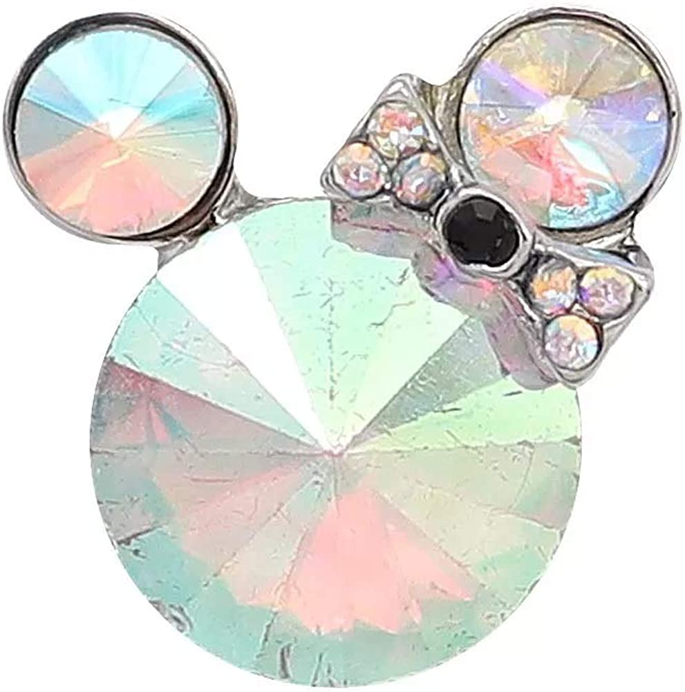 My Prime Gifts Mini 12mm Snap Jewelry Rhinestone Mickey Minnie Mouse Ears Shape Faceted Opal Charm for Snap Charm Bracelets