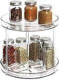 Delgeo 2 en 1 Especiero Giratorio para Cocina, 2 Pisos 360 ° Rotación Estante de Especias de Multifunción para Especias, Condimentos, Ingredientes de Hornear para el Hogar, la Cocina y el Baño