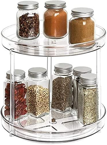Delgeo 2 en 1 Especiero Giratorio para Cocina, 2 Pisos 360 ° Rotación Estante de Especias de Multifunción para Especias, Condimentos, Ingredientes de Hornear para el Hogar, la Cocina y el Baño.