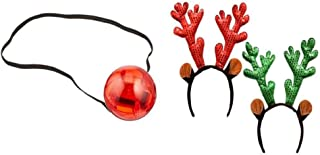 Light Up Blinking Red Nose with Reindeer Headband (Bonus Holiday Expression) Holiday Toy Reindeer Flashing Bundle of 2
