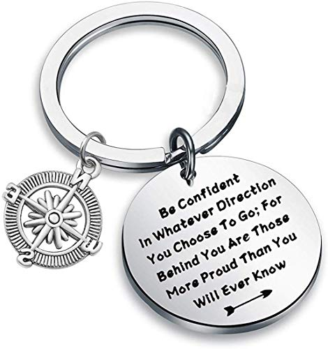 QIIER Graduation Gifts Be Confident In Whatever Direction You Choose To Go Keychain with Compass Charm Graduation Keychain New Adventure Gift (silver)