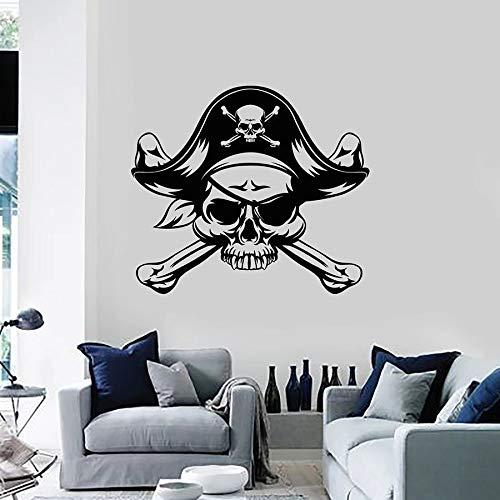 Tianpengyuanshuai Tatuajes de Pared Pirata mar Bandido Adolescente niño Dormitorio decoración del hogar Vinilo Adhesivo Mural 42X48cm