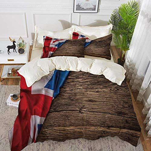 ropa de cama - Juego de funda nórdica, Union Jack, bandera del Reino Unido sobre tabla de madera de roble viejo País de la nación inglesa Britai, juego de funda nórdica de microfibra hipoalergénica co