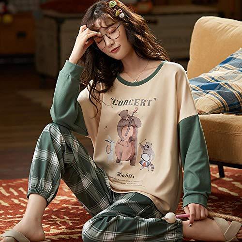 ZXXFR Damen Schlafanzug Zweiteilige Langarmhose mit Rundhalsausschnitt aus Baumwolle,...