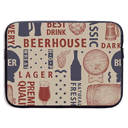 The Best Drink Beerhouse 13-15 Inch Laptop Sleeve Bag Portable Dual Zipper Case Cover Pouch Holder Pocket Tablet Bag,Water Resistant,Black