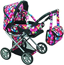 Mommy & Me 5 in 1 Deluxe Doll Pram Foldable Doll Stroller with Carrier, Adjustable Handle, Basket, and Carriage Bag, Gumball