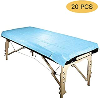 Healthcom Disposable Sheets Non-Woven Fabric Cover Pad Table 70 x 31.5 inch Bed Sheet for Tattoo, Hotels, Beauty Salon,Blue(20 Pcs)