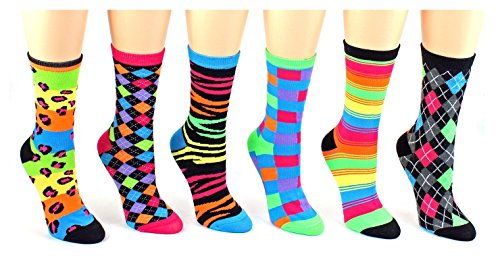 6 Pairs Novelty Design Crew Socks, Printed Fun Colorful Fancy Design (Assorted)