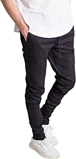KNDK Men's Tapered Skinny Fit Stretch Twill Cotton Drawstring Ankle Zip Moto Pants