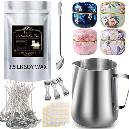 Candle Making Kit for Beginner Include 3.5LB Natural Soy Wax,1pc Candle Make Pouring Pot,50pcs Candle Wicks, 60pcs Candle Wicks Sticker,3pcs 3-Hole Candle Wicks Holder, 4pcs Candle Tins and 1pc Spoon