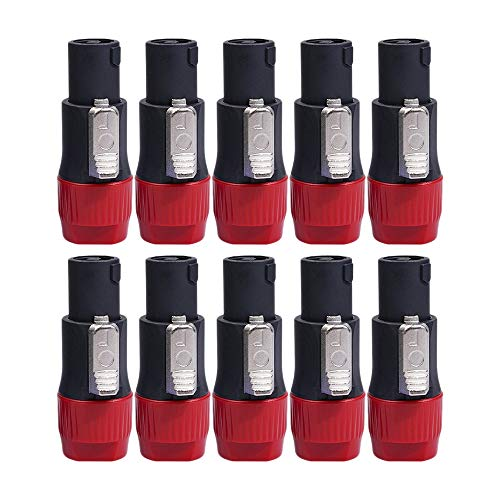 LUOSHEN 10 Piezas/Lote 4 Pines NL4FC Conector Toma de Ohmios Adaptador de Toma de Cable de Altavoz de Audio Accesorio de Enchufe Hembra de Altavoz de 4 Pines, Rojo