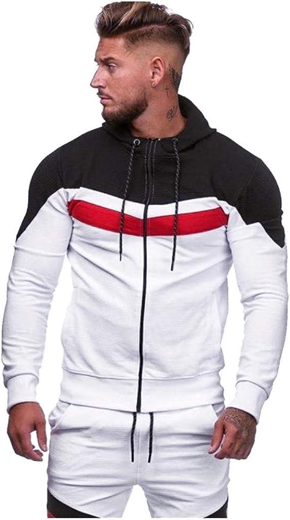 Men's Hoodies Pullover Clearance, F_Gotal Mens Casual Patchwork Long Sleeve Zipper Sports Outwear Hooded Warm Sweatshirt