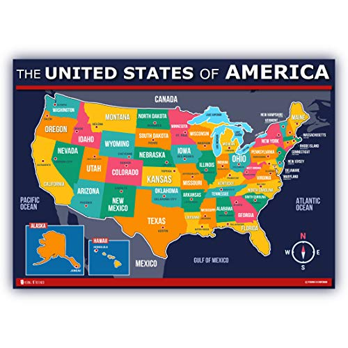 Map of USA for kids (18x24) Poster 50 states and capitals Laminated Extra Large Young N Refined