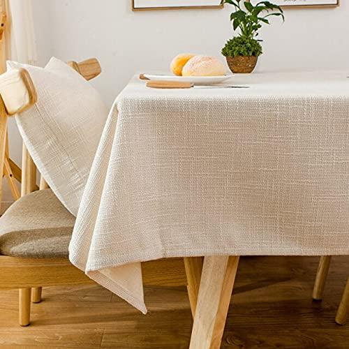 Mantel de algodón Decorativo Rectangular Grueso Simple teñir Hotel Boda Restaurante Tela 140x200cm Beige