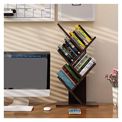 YWYW Libreria Bookshelf Desk Creativo Studio Libreria Albero a Forma di Decoro di mobili Book Rack Multi-Grid Bagagli Mensola espositore in Legno Mensola Telaio (Color : Black Walnut 5 Tire)