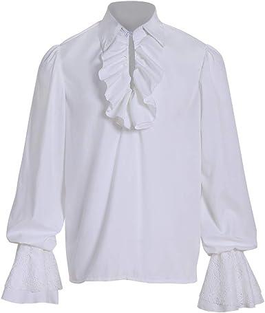 COUCOU Age Camisa Medieval Hombre Camisa de Pirata Disfraz ...