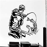 kyprx Decoración para el hogar Vinilo Apliques Pesca Pescado Deportes Hombre en Barco Interior del hogar Decoración para el Arte Decoración Papel Tapiz Rojo 57x61cm