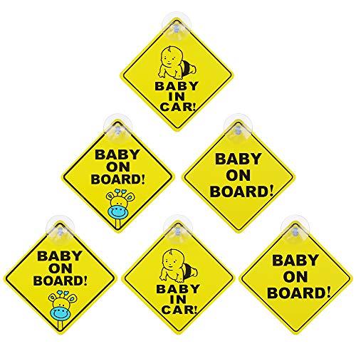 Chudian 6 Stück Baby on Board Warnschild, Aufkleber mit Saugnapf Hitzbeständig Kein Ausbleichen Kindersicherheit Autuschild Vorsicht Zeichen (Gelb)