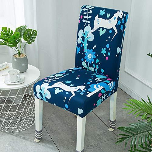 RGBVVM Stuhlhussen Blaues Tierhirsch Universal Stretchhusse Stuhlbezug Stretch Abnehmbare Waschbar Stuhlbezug für Hotel, Restaurant Dekor(4 Stück)