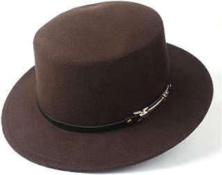 2019 Mens Womens Hats Unisex Men Women Flat Top Hat Pop Church Soft Autumn Winter Fashion Flat Top Hat Tea Party Hat Wool Trilby Hat Pork Pie Fedora Hat Soft (Color : Coffee, Size : 56-58)