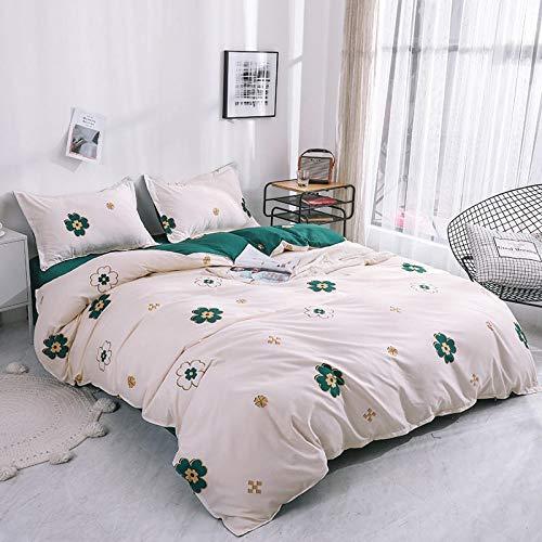 Duvet Sets Brushed Cotton Duvet Covers Printed Quilt Bedding 4pc (Color : 35, Size : 2.0m 4pc)